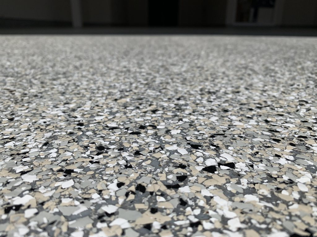 Epoxy Flooring Grey and tan flakes