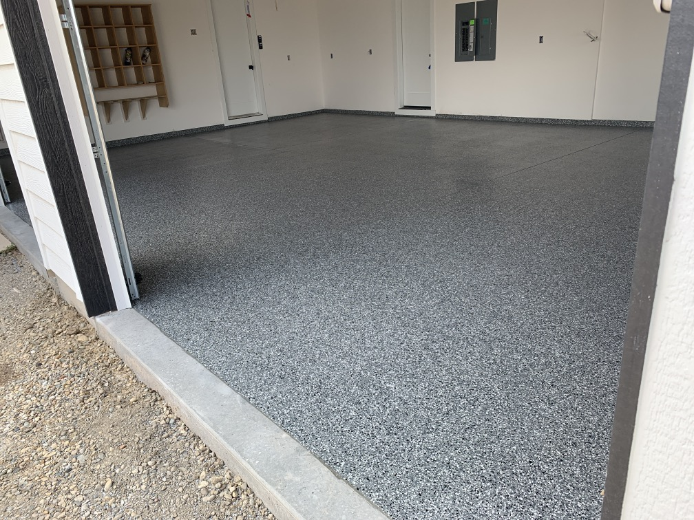 Blue epoxy garage floor boise idaho garage