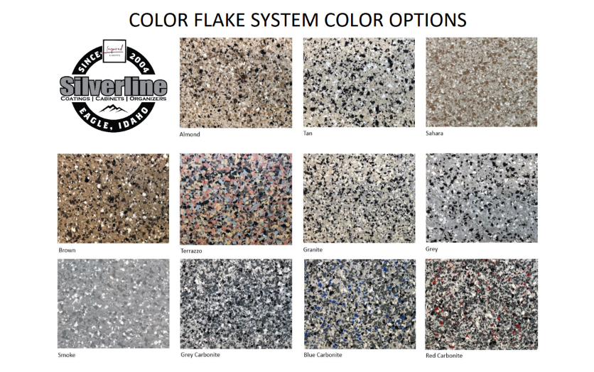 Silverline Systems Epoxy Garage Flooring Color Chart for boise idaho homes